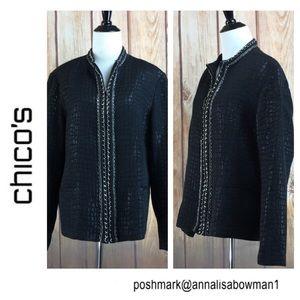 🐞Chico's Black Zippered Jacket size 16 Large